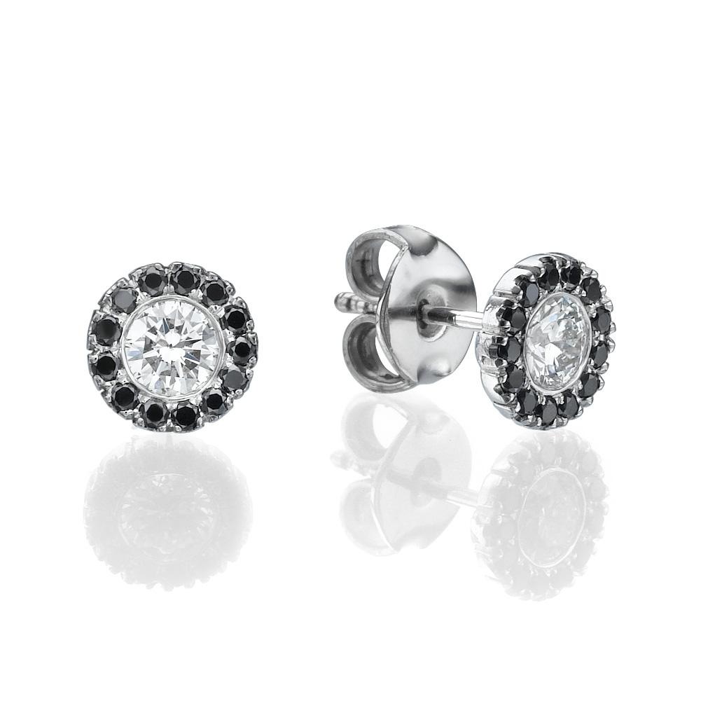 עגילי יהלומים בלאק אנד וויט