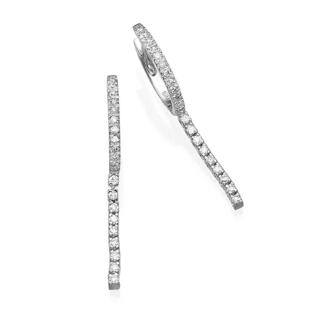 עגילי יהלומים פס קלאסי
