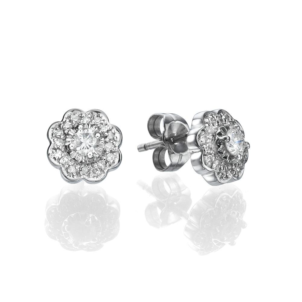 עגילי יהלום פרח היקינטון