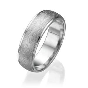 טבעת נישואין חצי עגולה מט שריטות קנטים חיתוך לייזר
