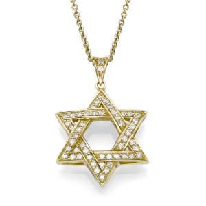 תליון מגן-דוד תלת-מיימד משובץ יהלומים