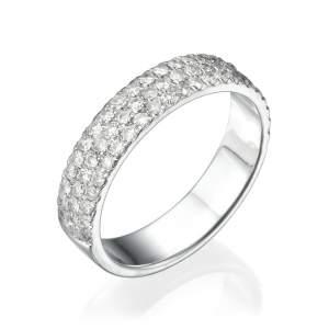 טבעת שלוש שורות יהלומים