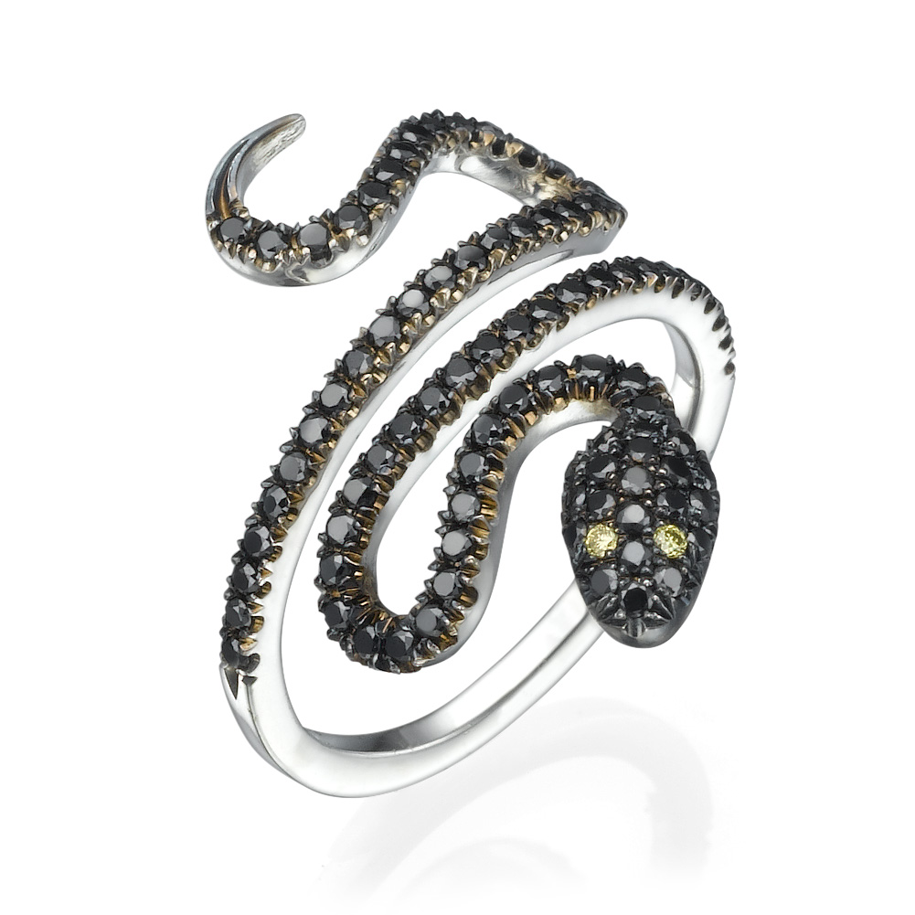 טבעת נחש שחור יהלומים שחורים