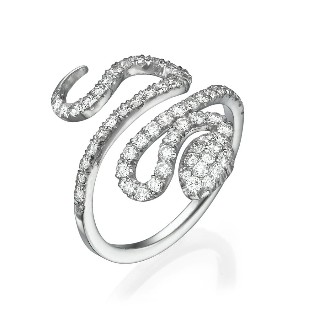 טבעת נחש לבן יהלומים