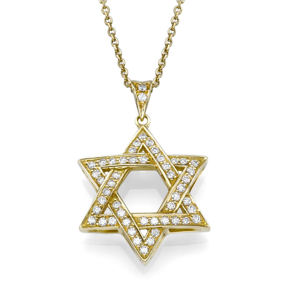 תליון מגן-דוד משובץ יהלומים