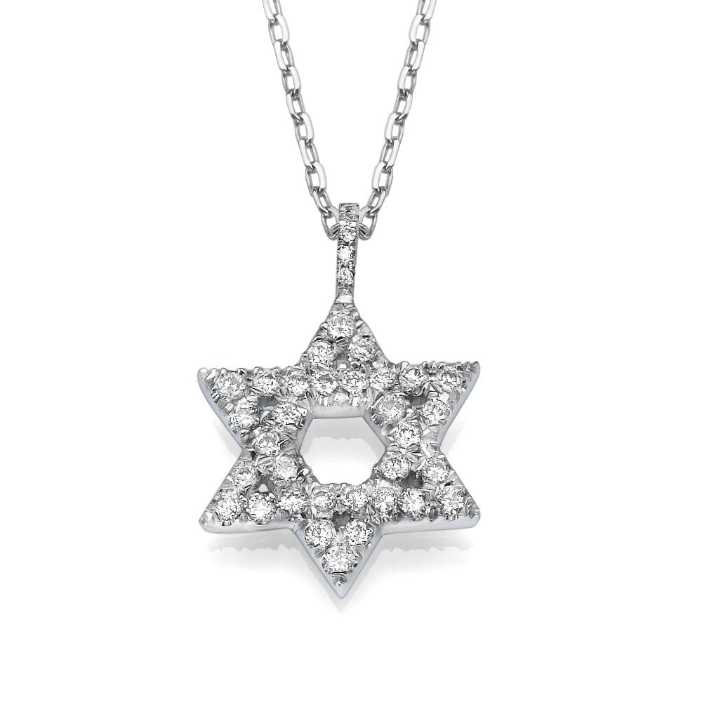 תליון מגן-דוד משובץ יהלומים זהב לבן