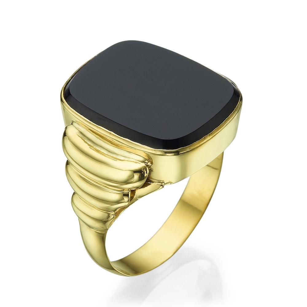 טבעת אוניקס זהב צהוב