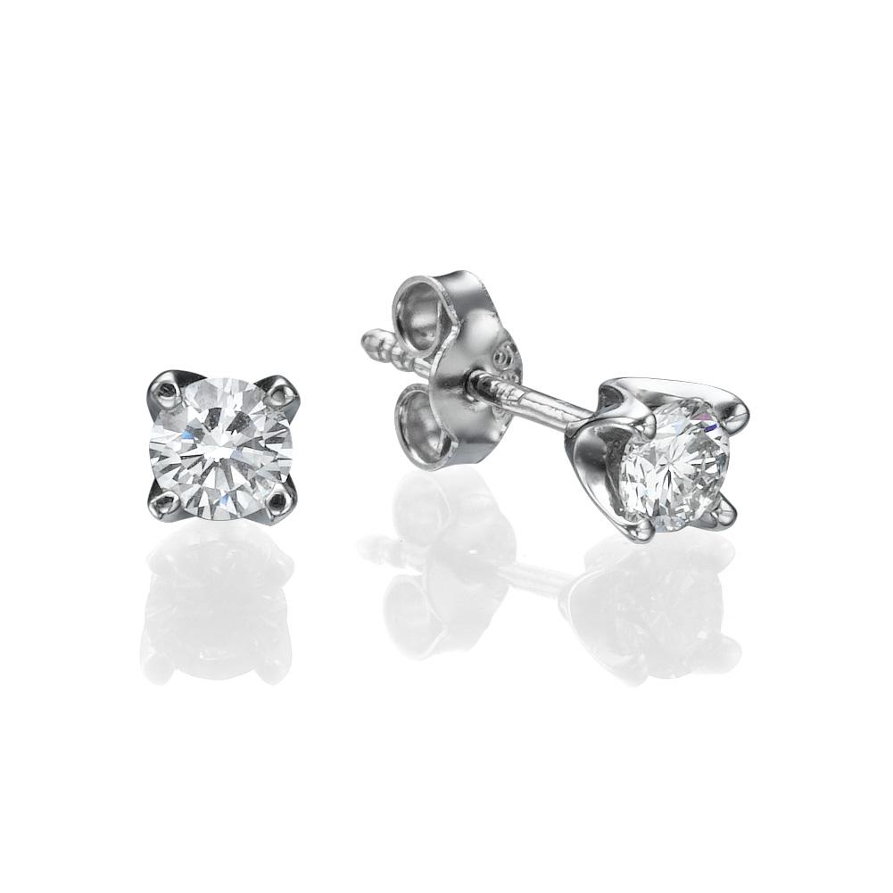 עגילי יהלומים בייסיק דיאמונד