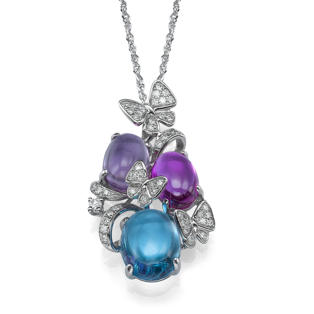 תליון יהלומים ואבני חן פרפרי החופש