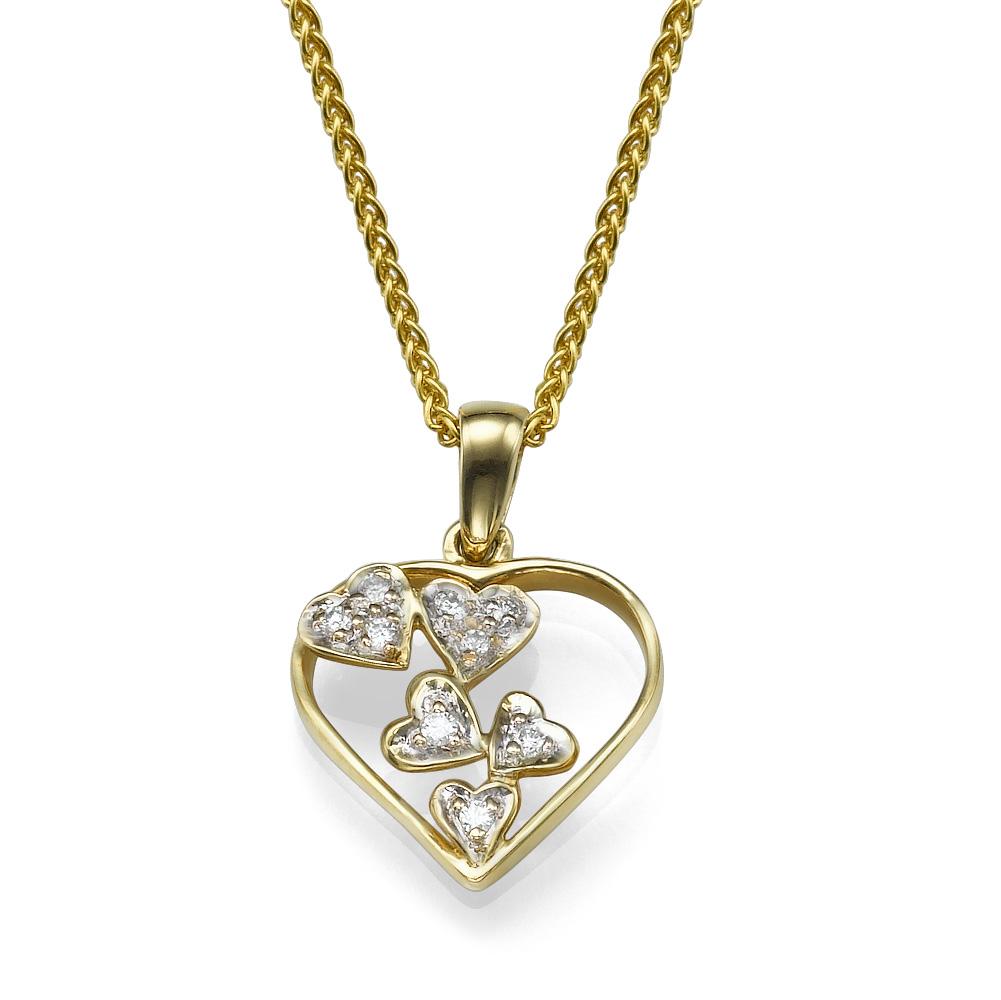 תליון יהלומים לב חופשי