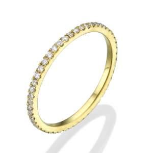 טבעת שורת יהלומים שיבוץ פתוח