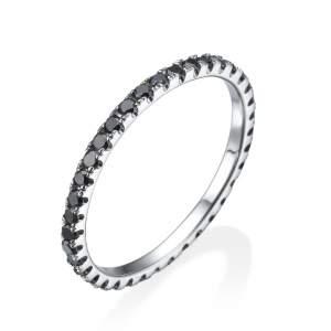 טבעת שורת יהלומים שחורים