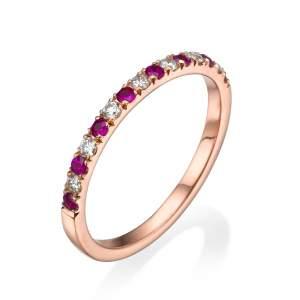 טבעת שורת יהלומים ורובי