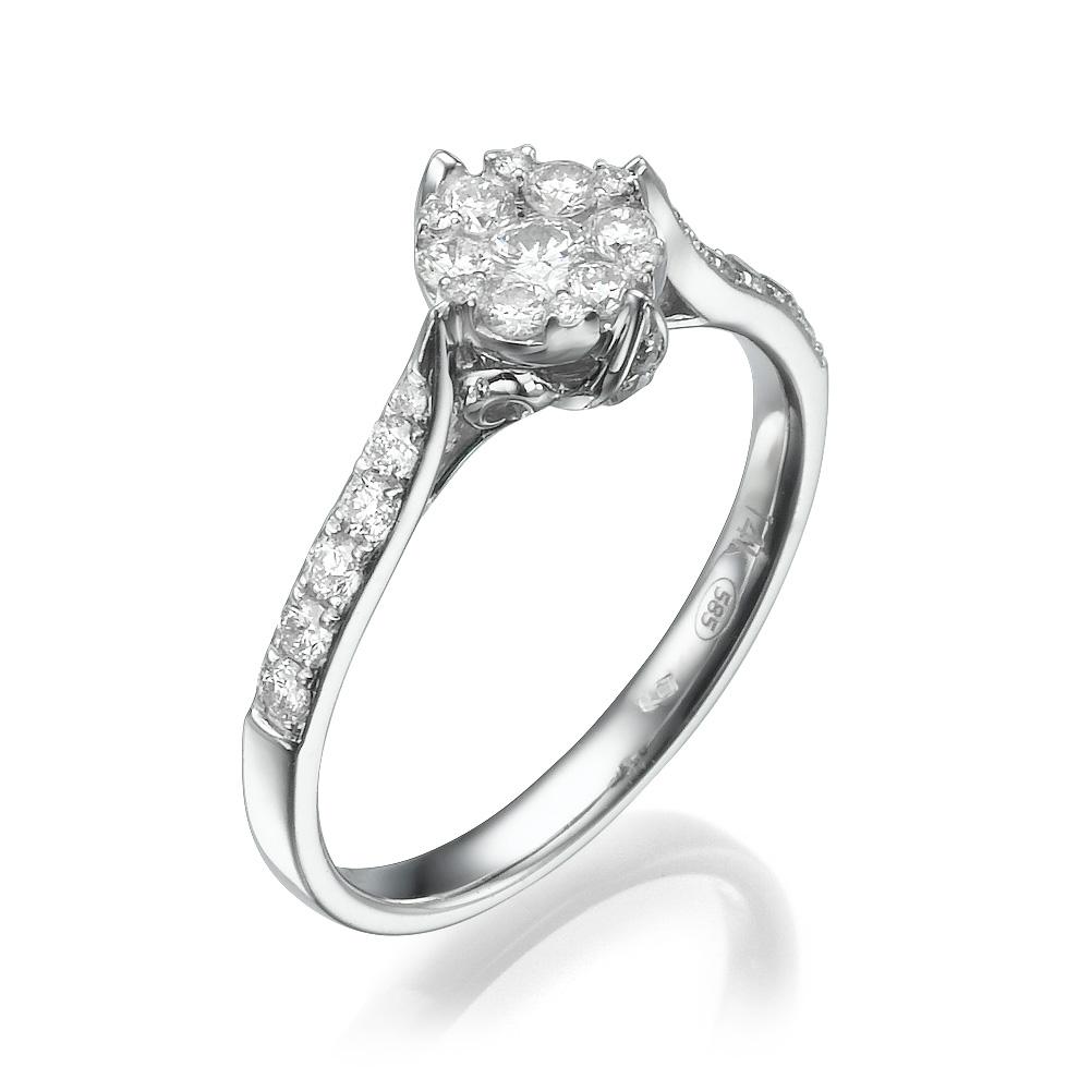 טבעת יהלומים הנרקיס הלבן