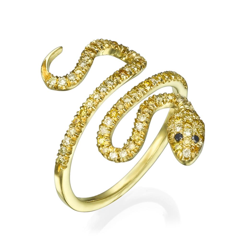 טבעת נחש צהוב יהלומי פנסי