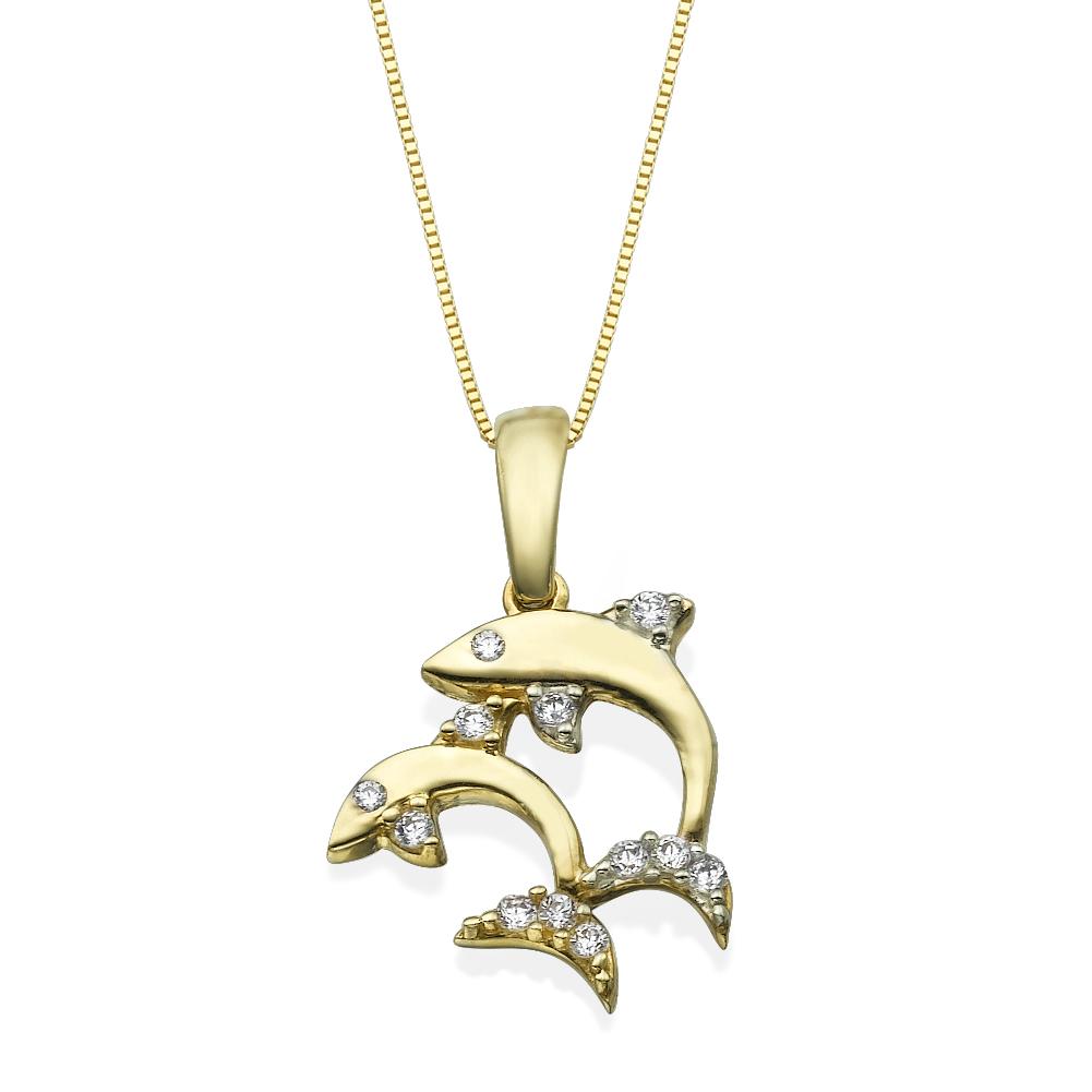 תליון זהב דולפינים