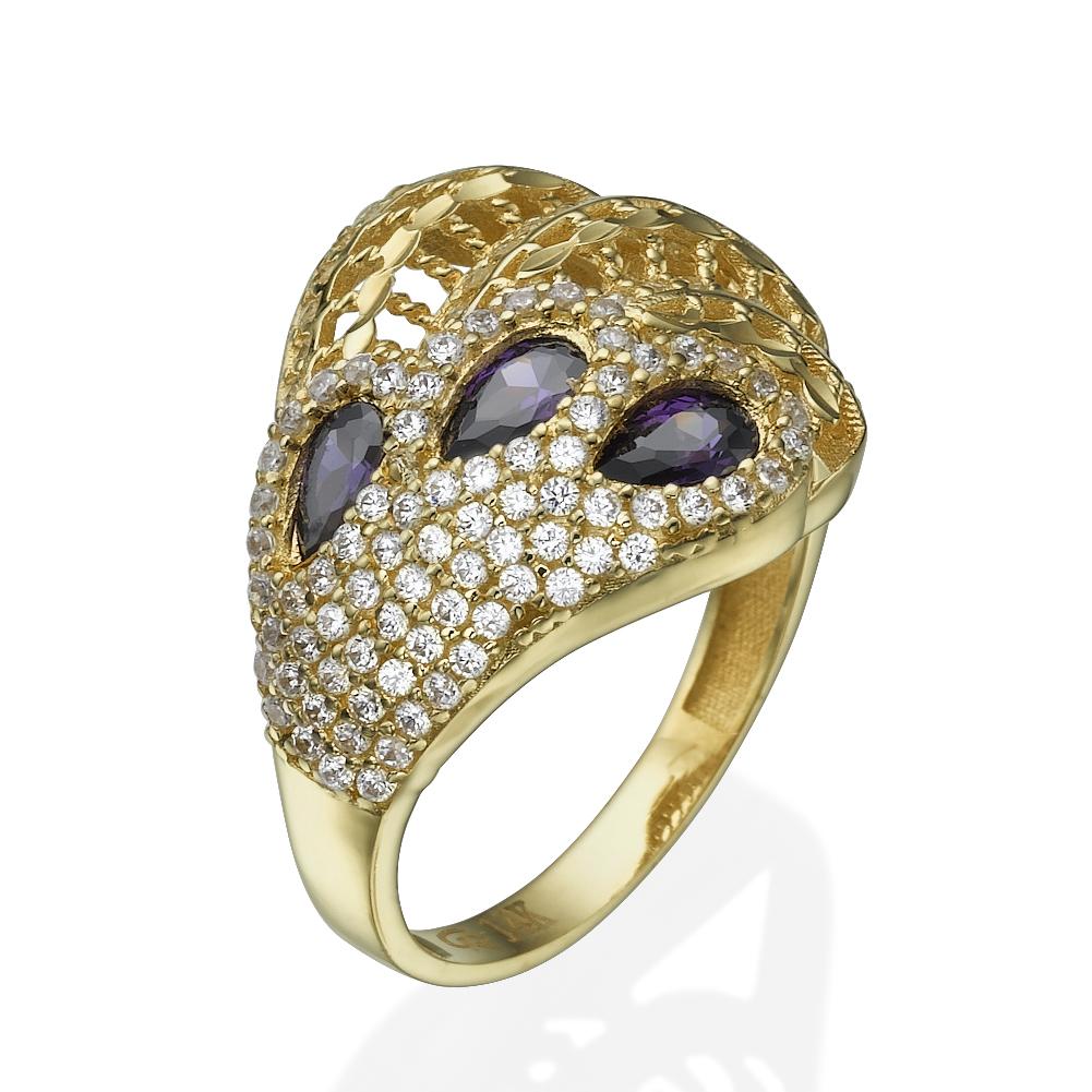 טבעת זהב אבני חן טווס